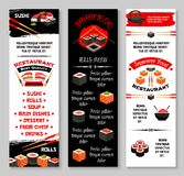 Vector menu banners for Japanese sushi restaurant. Japanese sushi restaurant or Asian cuisine bar menu banners templates. Vector fish sushi rolls, rice and Royalty Free Stock Photo
