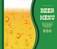 Vector Menu with  Beer Drops On Green Background. Esp 10 Template Royalty Free Stock Photo
