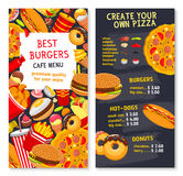 Vector menu card template for fast food meals Stock Photo