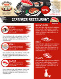 Vector menu for Japanese sushi food restaurant. Sushi menu template for Japanese seafood or sushi bar lunch discount offer. Vector design of sashimi rolls and Royalty Free Stock Photo