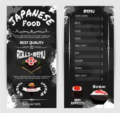 Vector menu for Japanese sushi restaurant. Japanese cuisine and sushi restaurant menu template. Vector design of Asian cuisine dishes price of sushi roll Stock Image