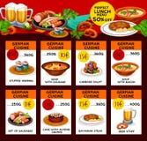 Vector menu price cards of German cuisine Stock Photography
