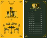 Menu with price, image of served table and chairs Royalty Free Stock Photography