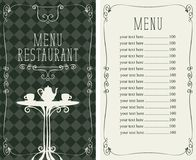 Restaurant menu with price list and served table Royalty Free Stock Images