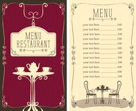 Menu for the cafe with price list and served table Stock Image