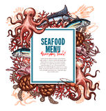 Vector menu for seafood or fish food restaurant Royalty Free Stock Image