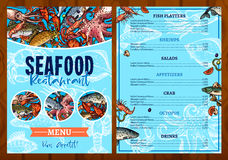 Vector menu for seafood fish restaurant Royalty Free Stock Photos