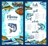 Vector menu for seafood or fish restaurant. Seafood and fish restaurant menu template of fresh fish dishes. Vector price for grill salmon, pike, crucian or perch Stock Photo