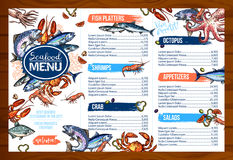 Vector menu for seafood or fish seafood restaurant Royalty Free Stock Image