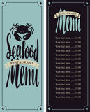 Vector menu for seafood restaurant. With a picture of crab and Price Stock Photo