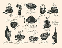 Vector menu with sketches different dishes Stock Images