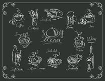 Vector menu with sketches different dishes Royalty Free Stock Photography