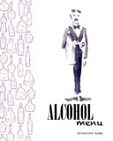 Vector menu template with bottles and watercolor waiter. vector illustration