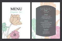 Vector menu template design with vintage floral elements tulip, poppy, daffodil. Great for restaurant, cafe, bar. Vector unique menu template design with vintage Stock Photography