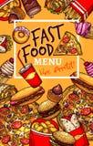 Vector menu template of fast food restaurant Stock Image