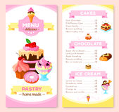 Vector menu template for homemade pastry cakes Royalty Free Stock Photos