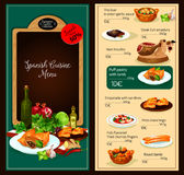 Vector menu template of Spanish cuisine restaurant. Spanish cuisine restaurant lunch menu vector template of liver in onion-garlic sauce, steak extemadura, ham Stock Image