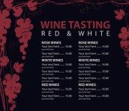 Menu for wine tasting patterned bunch of grapes. Vector menu for wine tasting with price patterned vine and bunch of grapes on the black background royalty free illustration