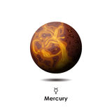Vector Mercury on background with symbol. Vector Mercury on white background with symbol Royalty Free Stock Image