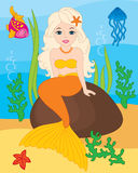 Vector Mermaid, Seal, Fish, Jellyfish and Starfish. Vector Underwater and Sea Life Stock Images