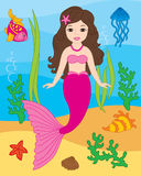 Vector Mermaid, Seal, Fish, Jellyfish and Starfish. Vector Underwater and Sea Life Stock Photos