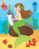 Vector Mermaid, Seal, Fish, Jellyfish and Starfish. Vector Underwater and Sea Life Royalty Free Stock Images