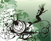 Vector mermaid under the sea. Abstract sea life with mermaid and seaweed Stock Images
