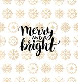 Vector Merry And Bright lettering design on snowflakes background. Christmas or New Year seamless pattern. Vector Merry And Bright lettering design on Stock Photos