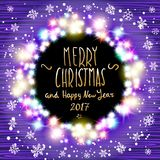 Vector merry chrismas and Happy new year 2017.. Happy new year banner set designs with festive holiday lights decoration and colorful bokeh blur elements in the Stock Photos