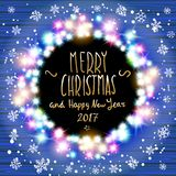 Vector merry chrismas and Happy new year 2017. Happy new year banner set designs with festive holiday lights decoration and colorful bokeh blur elements in the royalty free illustration