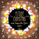 Vector merry chrismas and Happy new year 2017. Happy new year banner set designs with festive holiday lights decoration and colorful bokeh blur elements in the vector illustration