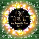 Vector merry chrismas and Happy new year 2017. Happy new year banner set designs with festive holiday lights decoration and colorful bokeh blur elements in the stock illustration