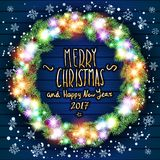 Vector merry chrismas and Happy new year 2017.  Stock Images