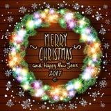 Vector merry chrismas and Happy new year 2017 Stock Photos