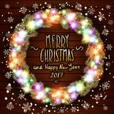 Vector merry chrismas and Happy new year 2017. Glowing White Christmas Lights Wreath for Xmas Holiday Greeting Cards Design. Woode Royalty Free Stock Photo