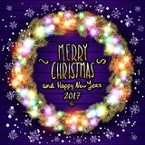 Vector merry chrismas and Happy new year 2017. Glowing White Christmas Lights Wreath for Xmas Holiday Greeting Cards Design. Woode Royalty Free Stock Photography