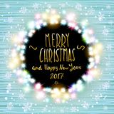 Vector merry chrismas and Happy new year 2017. Glowing White Christmas Lights Wreath for Xmas Holiday Greeting Cards Design. Woode. Happy new year banner set Stock Photo