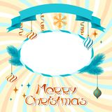 Vector Merry Christmas background in retro style Royalty Free Stock Photo