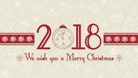 Vector 2018 Merry Christmas background, web banner, text label with snowflakes, winter theme doodles illustration. Greeting card template, flat pastel design Royalty Free Stock Image