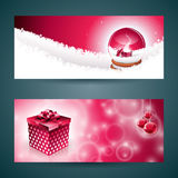 Vector Merry Christmas banner illustration with gift box and magic snow globe on red background. EPS 10 illustration Royalty Free Stock Image