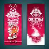 Vector Merry Christmas banner illustration with gift box and 2017 symbol on red background. Stock Photos