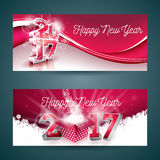 Vector Merry Christmas banner illustration with gift box and 2017 symbol on red background. Stock Image