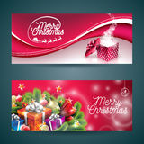 Vector Merry Christmas banner illustration with magic gift box and holiday design elements on red background. EPS 10 illustration Royalty Free Stock Image