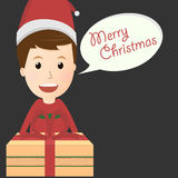 Vector of merry christmas boy with gift box Royalty Free Stock Images
