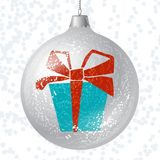 Vector Merry Christmas card with brilliant glossy Stock Images