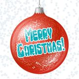 Vector Merry Christmas card with brilliant glossy Royalty Free Stock Photo