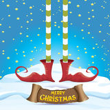 Vector merry christmas card with cartoon elfs Royalty Free Stock Images