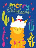 Vector Merry Christmas card with cute lama. Vector Christmas winter card for holiday season with cute funny lama vector illustration