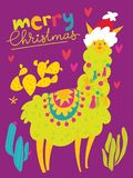 Vector Merry Christmas card with cute lama. Vector Christmas winter card for holiday season with cute funny lama royalty free illustration