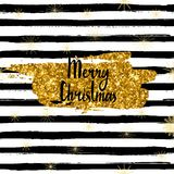 Vector Merry Christmas card, hand drawn font, brushstroke with gold glitter. Royalty Free Stock Photos